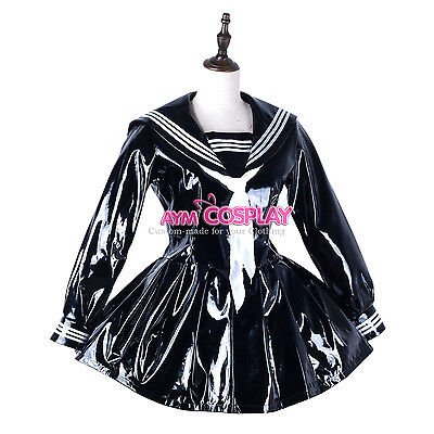PVC sailor fuku vinyl dress Unifrom cosplay Unisex  tailor-made[G2247]