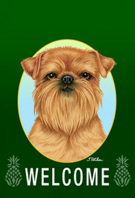 Large Indoor/Outdoor Welcome Flag (Green) - Brussels Griffon 74128