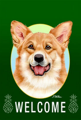 Large Indoor/Outdoor Welcome Flag (Green) - Pembroke Welsh Corgi 74045