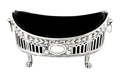 LOVELY ANTIQUE EDWARDIAN STERLING SILVER BOWL with LINER - 1904 - LION HEADS