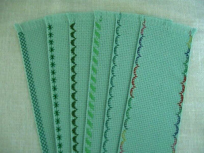6 Blank 14C Seafoam Fabric Pocket Book  Embroidered Green Edges Bookmarks 24X92