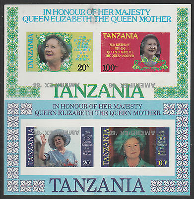 Tanzania 4310- 1986 QUEEN MUM imperf m/sheet with  AMERIPEX OVERPRINT INVERTED