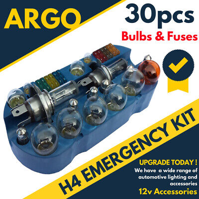 Universal 30 Pcs Emergency Car Spare Bulb & Fuse Replacement Kit Set H4