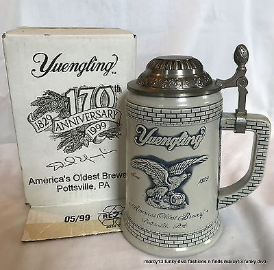 1999 Yuengling 170th Anniversary Lidded Stein IOB w COA Made in Germany