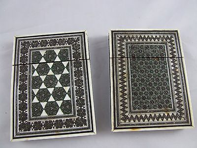 2 x Antique Anglo Indian Calling Card Cases with Inlaid Mosaic Decoration