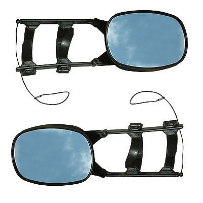 Pair of Universal Towing Mirrors Caravan Car Wing  Scissor Fit Flat & Convex