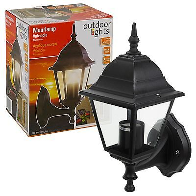 Wall Mounted Garden Lantern Black LED Lamp Pathway Lights Driveway Outdoor Decor