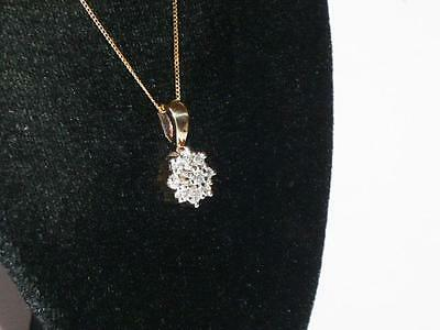"Stunning Ladies 9Ct Gold Diamond Cluster Pendant & 18"" Necklace Chain 375 9Kt"