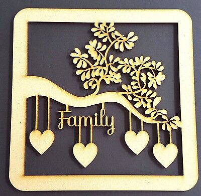 Wooden MDF Tree Plaque  Family Christmas Wedding Guestbook Crafting + 10 Hearts