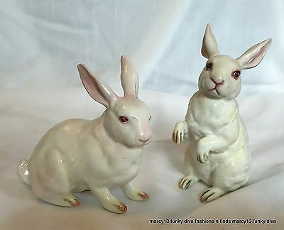 Sweet Pair of Vintage Lefton White Bunny Rabbits Pink Eyes & Ears H880