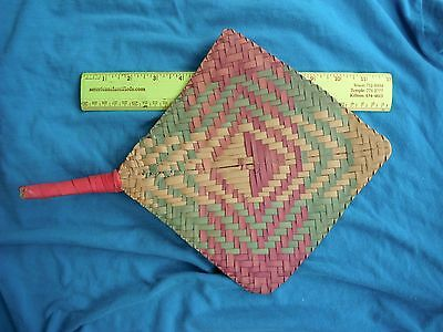 Mexico vintage straw fan, may date from the 1960's