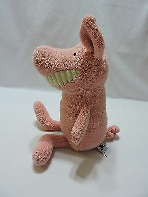 """Jellycat Toothy Pig Plush Stuffed Animal 15"""" Toy Soft Pink Fleece Big Grin Smile"""