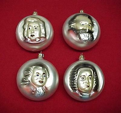 Set of 4 Music Composer Classical Musician Blown Glass Ornament Christmas Tree