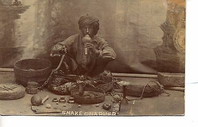 Fantastic Early Indian Snake Charmer with Cobra's Real Photo Postcard. C1905