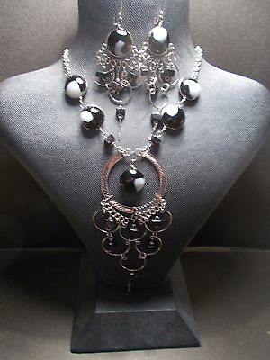 Peruvian Alpaca Silver Necklace and Earring Set~Black~PN33~uk seller