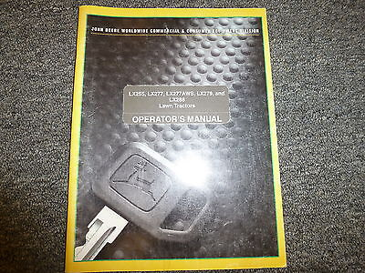 John Deere LX 288 279 255 277 & AWS Lawn Tractor Owner Operator Manual OMM142612