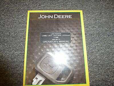 John Deere LX 288 279 266 277 & AWS Lawn Tractor Owner Operator Manual OMM148972