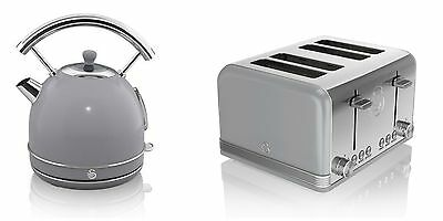NEW Swan Kitchen Appliance Retro 1.7L GREY Dome Kettle & 4 Slice Toaster Set