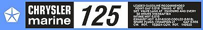 Chrysler Marine 125 Hp Decal Kit