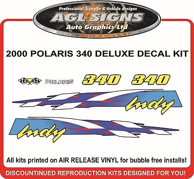 2000 POLARIS 340 DELUXE  REPRODUCTION DECAL KIT , shroud  graphic