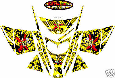 YELLOW HONEYCOMB SLED WRAP for SKI-DOO rev, mxz, renegade, summit 2003-07 decal