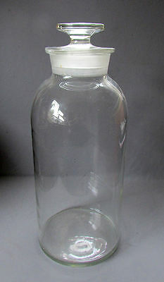 """Large ANTIQUE Pharmaceutical 17 1/2"""" APOTHECARY JAR with GLASS STOPPER"""