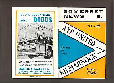 5  Vintage Ayr United Home Programmes League And Cup From 1972 - 1975