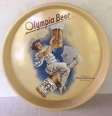 """Vtg OLYMPIA BEER Capital Brewing Co. METAL Advertising TRAY 13"""""""
