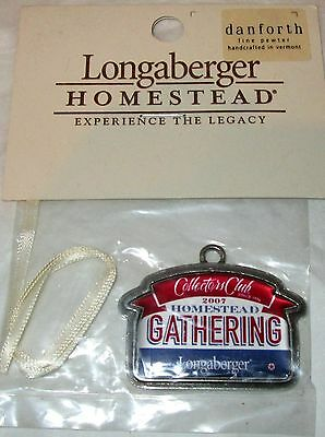 2007 Longaberger Collectors Club HOMESTEAD GATHERING PEWTER TIE ON -  NEW IN BAG
