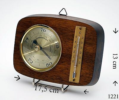 Barometer Thermometer Messing Naturholz