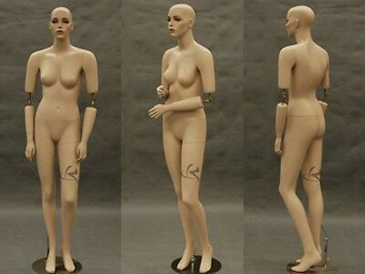 Flexible Arms Fiberglass Female Mannequin Fleshtone with Make-up Display#SARA-MD