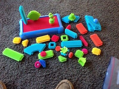 Toy Sticklebricks Base And An Asortment Of Stickle Bricks About 37