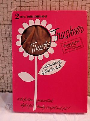VINTAGE Unworn 2 Pr Trusheer  Nylon Sheer Stockings with SEAMS- Use w/ Garters
