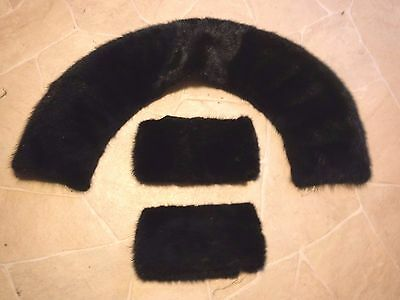 VINTAGE TRUE Fur CUFFS +Collar From Coat-Craft Your Own Design on Coat or Sweatr