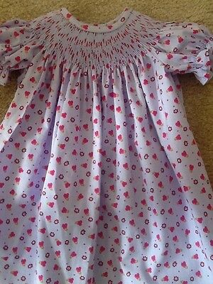 READY TO SMOCK REDISH PINK AND YELLOW PAISELY BISHOP DRESS SIZES 3MOS TO 4T