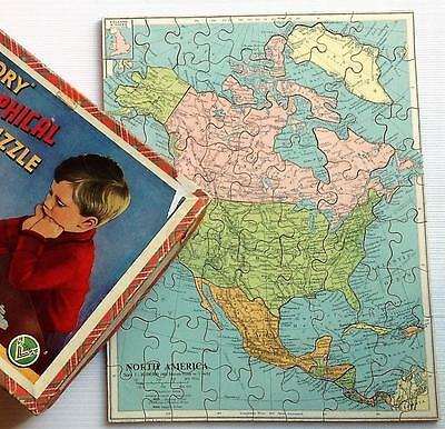 Vintage Victory Puzzle MAP of NORTH AMERICA & CANADA 70s Geographical Jigsaw USA