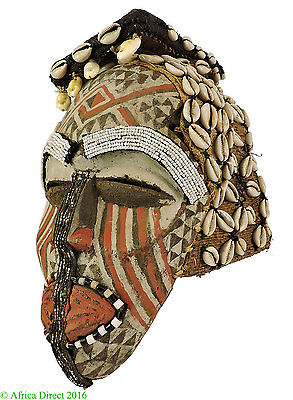 Kuba Beaded Mask Ngaady a Mwaash Cowrie Shells Congo African Art