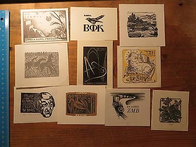 "Vintage Ex Libris Job Lot ,10 pieces ""A"""
