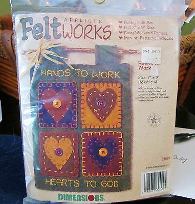 "Vintage (New) Dimensions Felt Works Kit #62029,""Hands to Work, Hearts to God"""