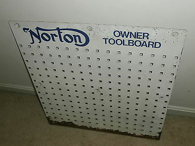 Vintage Norton Motorcycle Owner Toolboard Metal Display Sign Wall Tool Holder