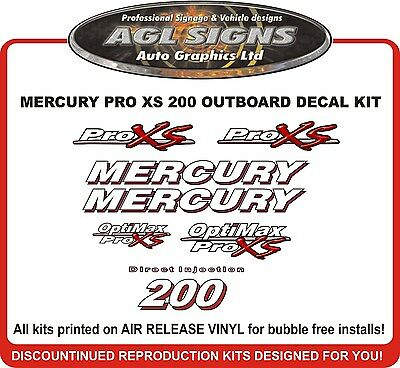 MERCURY Optimax Pro XS 200 HP Decal Kit  reproductions  115 150 175 225