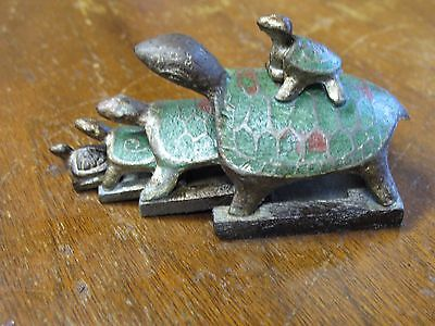 Vintage Antique Chinese Bronze Nesting Turle Wax Seal Stamp Set w/ Enamel