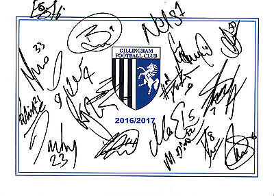Gillingham Fc, 2016/17 Superb Hand Signed A4 Card Sheet By (18X) A