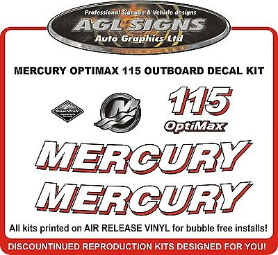 2006 MERCURY Optimax 115 HP Decal Kit   reproductions  90 115 150 175 225 250