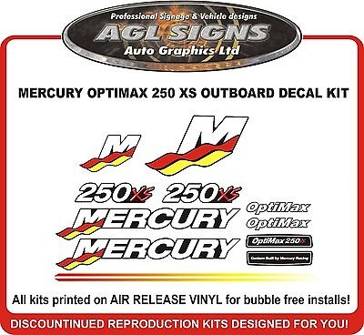 MERCURY Optimax  250 XS Racing Outboard Decal Kit  reproductions