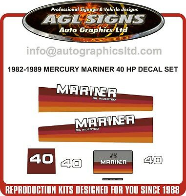 1982  - 1989  Mercury Mariner 40 hp Oil injected Reproduction Decal Kit