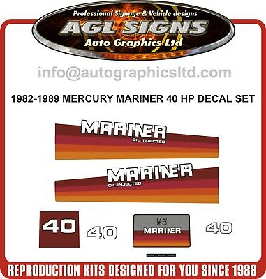 1984 1985 1986 1987 Mercury Mariner 40 hp Oil injected Decal Kit  reproductions