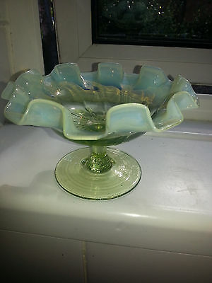 "ANTIQUE VASELINE PEARLINE GLASS RUFFLED EDGE TAZZA  COMPORT approx. 6"" ACROSS"
