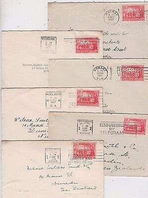 Stamps Australia 2d sesquicentennial of NSW on 6 covers to New Zealand no Perth