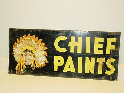 Vintage Chief Paints Double Sided Old Tin Metal Advertising Sign, Original Sign